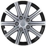 Unitec 75170 Premium- Radzierblenden 4er- Satz Adelaide, schwarz+ silber 35,6 cm (14 Zoll)