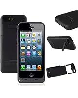 SAVFY� Ultra fin Coque avec batterie rechargeable 2200 mAh pour iPhone 5 / 5S Portable externe chargeur batterie de secours, Noir