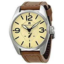Brooklyn Watch Company Lafayette Tan Dial Brown Leather Swiss Quartz Mens Watch CLA-G