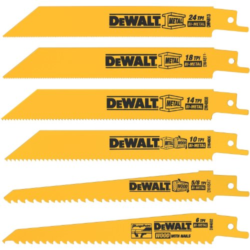 51JUuRkkSoL Cheap DEWALT DW4856  6 Piece Metal/Woodcutting Reciprocating Saw Blade Set