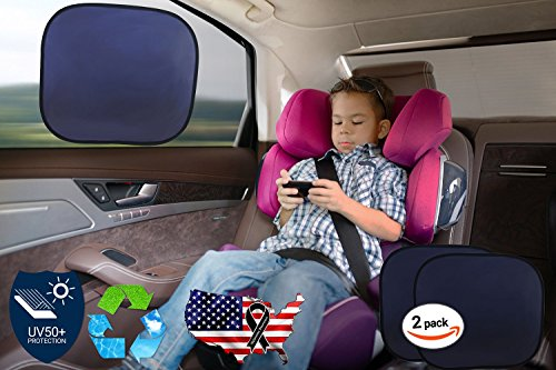 "Exclusive Car Sun Shade (UPF 50+) Permitting High Visibility and 150% More Protection Than Any Mesh Sun Shade - Without Jumbo Suction Cups, 100% Static Cling and Easy to Apply. 2 Shade Pack, Protect Your Children & Babys Against 97% of Harmful Uv Rays & Glare, Heat Visor Resistant , Reusable, Large Coverage. Automotive Side and Back Seat Window Sunscreen Also Recommended for Your Pets - Melanoma Awareness Product By ""Car Icon"""
