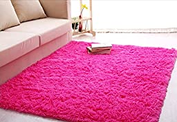 Ultra Soft 4.5 Cm Thick Indoor Morden Area Rugs Pads, New Arrival Fashion Color [Bedroom] [Livingroom] [Sitting-room] [Rugs] [Blanket] [Footcloth] for Home Decorate. Size: 4 Feet X 5 Feet (Hot pink)