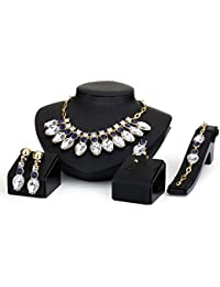 Silver Shoppee Marigold Crystal And Cubic Zirconia Studded 18K Yellow Gold Plated Alloy Jewellery Set