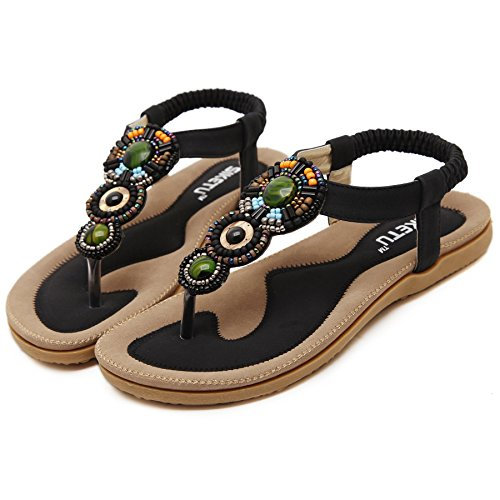 Summmer Bohemia Fashionable Sandals National Flipflop Beads Heel Height 0.78in Black (Jelly Bean Sandals For Women compare prices)