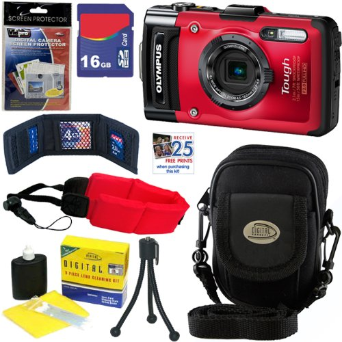 Olympus Stylus Tough TG-2 iHS 12 MP Waterproof Digital Camera with 4x Optical Zoom (Red) + 7pc Bundle 16GB Accessory Kit Big Discount