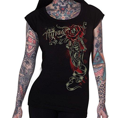 Hyraw da donna, motivo: rose, colore: nero, scheletro rigida e sottile Life-T-shirt da donna nero Large