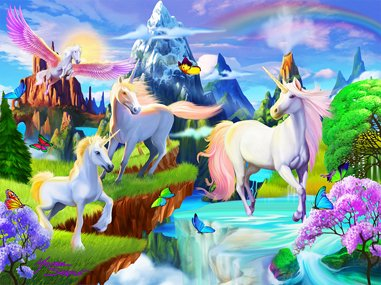 MasterPieces Puzzle Company Extreme Color Glow-In-The-Dark Unicorns Jigsaw Puzzle (100-Piece), Art by Michael Searle