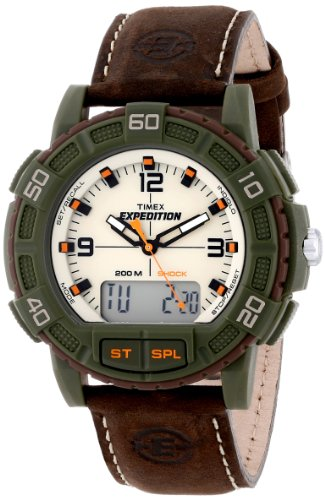 Timex Men's T49969 Expedition Analog and Digital Display Resin Watch with Leather Strap (Timex Digital Analog compare prices)