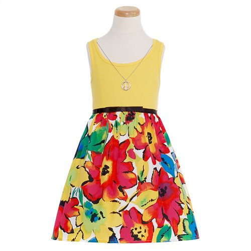 Yellow Ribbed Floral Print Sleeveless Casual Summer Dress Girls 7-14