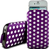 PURPLE POLKA DOT PREMIUM PU LEATHER PULL FLIP TAB CASE COVER POUCH FOR SAMSUNG E2530 BY N4U ACCESSORIES