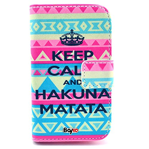 Bayke Brand / Huawei Ascend Y300 Case Pu Leather Wallet Type Flip Case Cover With Credit Card Holder Slots For Huawei Ascend Y300 (Aztec Tribal Keep Calm And Hakuna Matata Pattern Design Print)