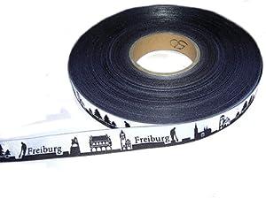 5m Webband Meine Heimat Skyline (Motiv: Freiburg, Farbe: schwarz-weiß) ca. 16mm breit