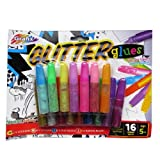 Glitter Glues 16 Coloured Pack 9 Bright 7 Neon Colours Make Your Work Sparkle