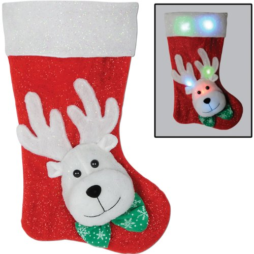 Light-Up Reindeer Stocking (Requires 3 Aa Batteries Not Included) Party Accessory (1 Count) (1/Pkg)