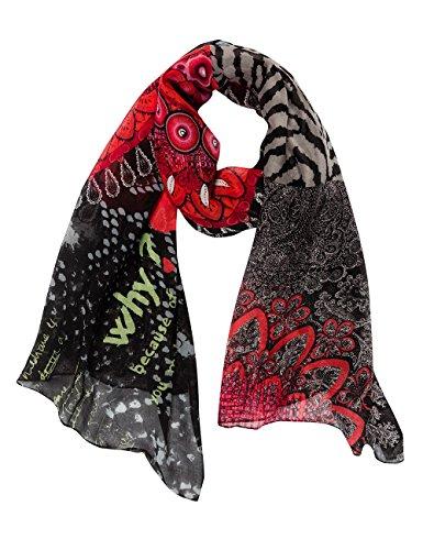 Desigual Bolas Rojas - Foulard - À fleurs - Femme - Rouge (3001) - Taille unique (Taille fabricant: Taille unique)