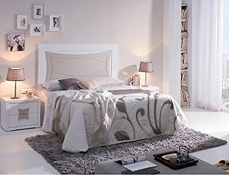 FACTORY MUEBLES -Mesita de noche de dos cajones, Modelo Eclipse. Madera de gran calidad. Color blanco - piedra.