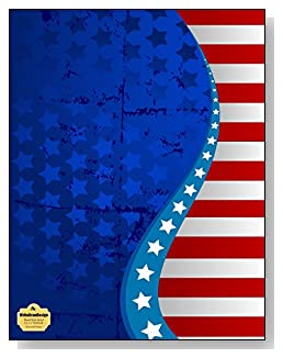 Stars And Stripes Notebook - An attractive red, white and blue stars and stripes design creates a stunning patriotic cover for this blank and wide ruled notebook with blank pages on the left and lined pages on the right.