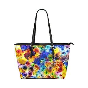 Women's Leather Large Tote HandBag Colorful Flowers Shoulder Bag