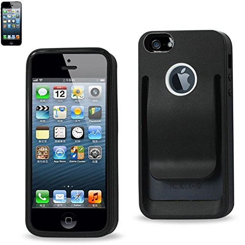 Reiko Belt Clip Polymer Case for iPhone 5 - Retail Packaging - Black (Iphone 5 Case With Clip compare prices)