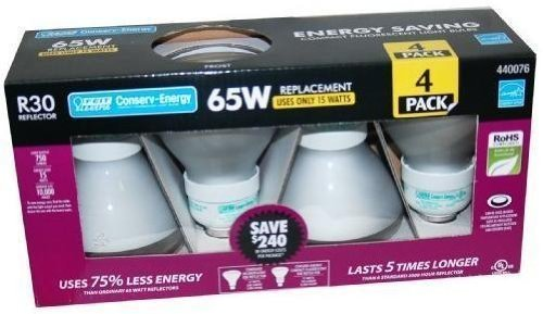 Feit Electric R30 Reflector 65W Replacement Bulb, Uses 15W - 4-Pack