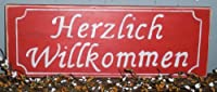 HERZLICH WILLKOMMEN Heartly Welcome CUSTOM German Shabby Chic Rustic Wood Sign CHOOSE COLOR from Prim and Proper Decor