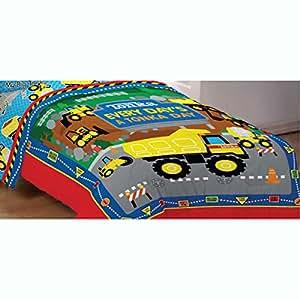 Tonka trucks twin bed comforter dump truck world bedding home kitchen - Dump truck twin bed ...