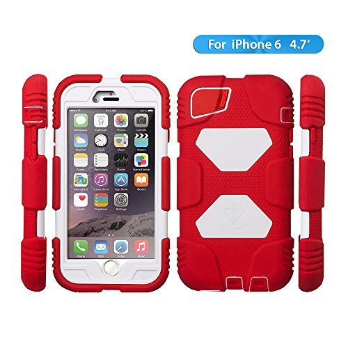 Iphone 6 Case, Aceguarder New Hot [Shockproof] [Light Weight] [Rainproof] Extreme Duty Screen Protector Cover Case with Stand for Iphone 6 4.7 Inch (Red/white) (Iphone 4 Lifeproof Case Blue compare prices)