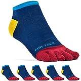 FUN TOES Men's Toe Socks Barefoot Running Socks-PACK OF 6 PAIRS- Size 10-13