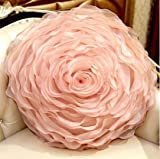 The Best Shopping Mall supply Organza Handmade platter Roses Round Cushion (with Pillow) Pink Medium