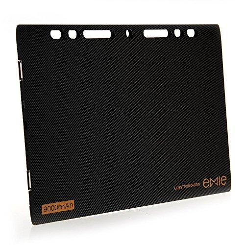EMIE パワー・ブレイド 8000mAh 超スリム コンパクト ポータブル モバイルバッテリー 充電器 外部バッテリー パワーバンク (黒)