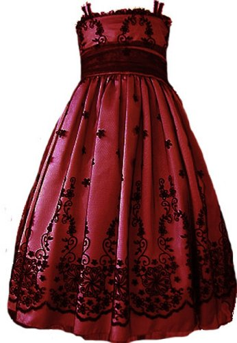 Kids Dream Modern Vintage Girls Party Dress Deep Dark Red And Black 7/8 front-958695