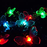 24 LED Colour Changing Solar Butterfly Garden Lights by Lights4funby Lights4fun - Solar Lights