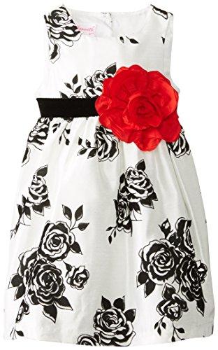 Nannette Little Girls' Floral Shantung Dress, White, 3T