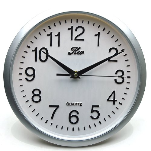 Sinceda Modern Non Ticking Silent Quartz Analog Digital Wall Clock (Silver)