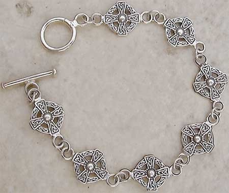Sterling Silver Medieval Cross Toggle Bracelet