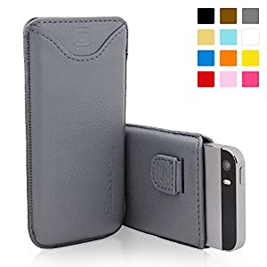 Snugg iPhone 5 / 5S Case - Leather Pouch with Lifetime Guarantee (Grey) for Apple iPhone 5 / 5S