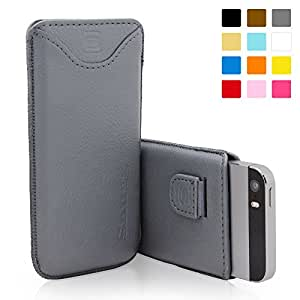 iPhone 5 / iPhone 5S Case, SnuggTM - Grey Leather Pouch Cover with Card Slot & Soft Premium Nubuck Fibre Interior - Protective Apple iPhone 5S Sleeve Case - Includes Lifetime Guarantee