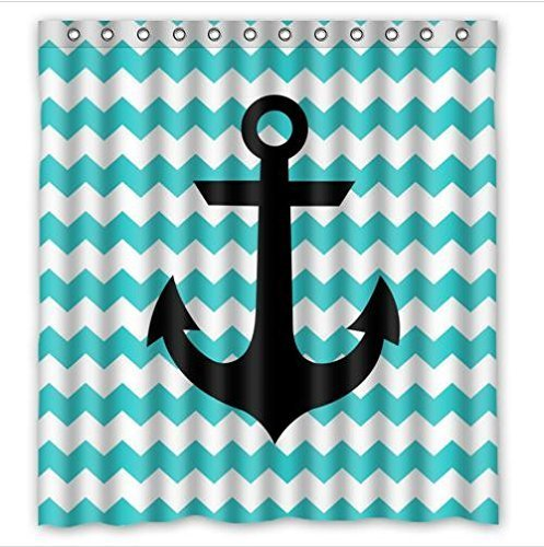Lawrence Anchor Shower Curtain With Hooks New Style Turquoise White Chevron Anchor Waterproof Bathroom Fabric Shower Curtain With Hooks,Bathroom Decor 66x72 inch