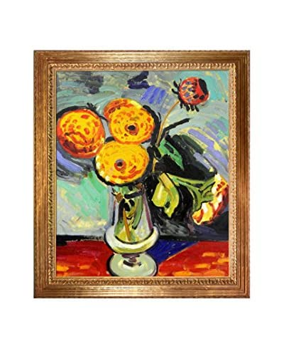 "Alfred Henry Maurer ""Flowers In A Glass Vase"" Framed Hand-Painted Oil Reproduction"