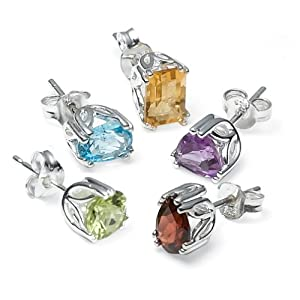 Sterling Silver Peridot, Garnet, Amethyst, Blue Topaz and Citrine Individually Boxed Stud Earring Set