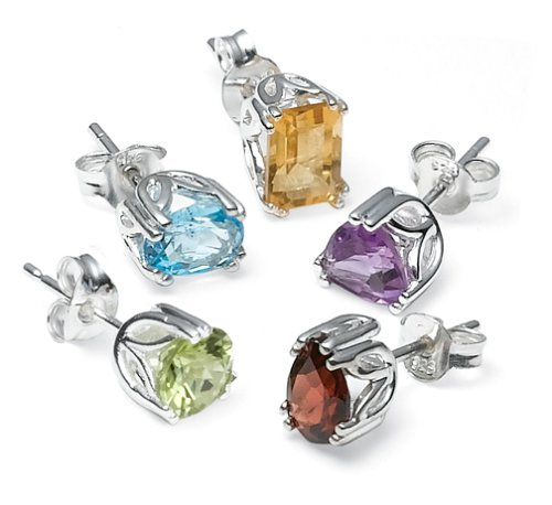 Sterling Silver Peridot, Garnet, Amethyst, Blue Topaz & Citrine Individually Boxed Stud Earring Set
