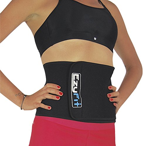 EzyFit Waist Trimmer Ab Belt, Slimmer Stomach Abs Tightener Weight Loss Sweat & Back Posture Support Body Wrap, Belly Fat Burning Sauna Adjustable Velcro Binder