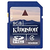 Kingston 8 GB Class 4 SDHC Flash Memory Card SD4/8GBET