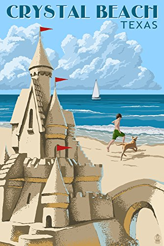 Crystal Beach, Texas - Sand Castle (12x18 Collectible Art Print, Wall Decor Travel Poster) (Crystal Castles Poster compare prices)