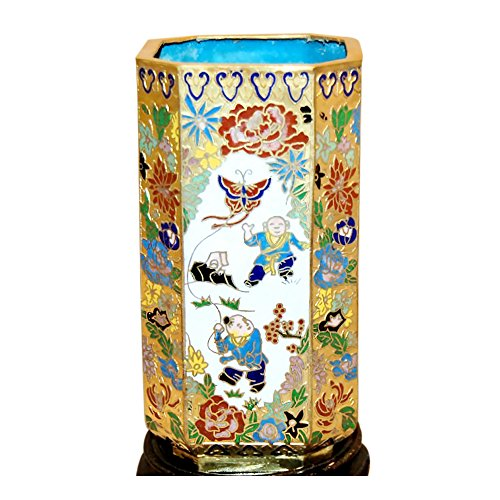 cloisonne-pencil-holder-gold-and-white-with-butterfly-kite