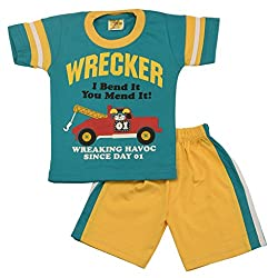Wrecker print t-shirt with cotton pant (Green)