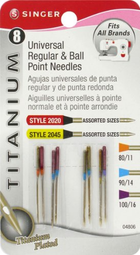 New Singer Titanium Universal Reg and Ball Point Machine Needles Combo Pack, 8-Pack
