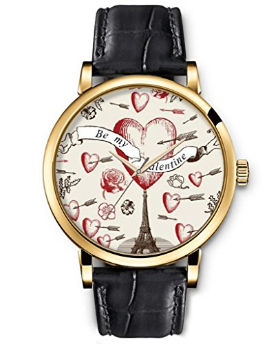 Quartz Watch Leather Classic Analog Round Gold Face Genuine Black Watches Present For Women Funny Design Fashion Accessory --- Hearts And Eiffel Tower And Flowers