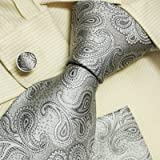 Grey Paisleys Men Wearing Ties Silver Pattern Gift Idea for Man Mens Style Tie Cufflinks Set H5098 One Size Silver