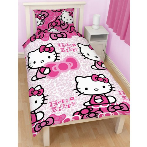 Childrens-Girls-Hello-Kitty-Bows-SingleTwin-Duvet-Cover-and-Pillowcase